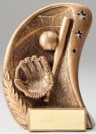 Curve Action Series Sculpted Antique Gold Resin Trophy -Baseball Baseball Trophy Awards