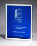 Glass Plaque with Blue Center and Mirror Border FAU Awards