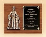 Police Award Casting on Walnut Plaque Frame Type Plaques