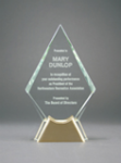 Diamond Glass with  Gold Metal Base Most Popular Glass Awards