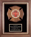 Genuine Walnut Frame With Fireman Casting Police and Fire Awards